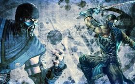 Обои стиль, шар, меч, маска, герой, sub-zero, Mortal kombat