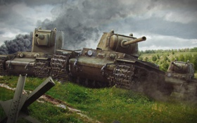 Картинка танк, танки, WoT, Мир танков, tank, КВ-2, World of Tanks