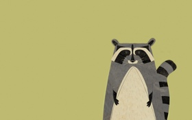 Картинка животное, минимализм, енот, зверек