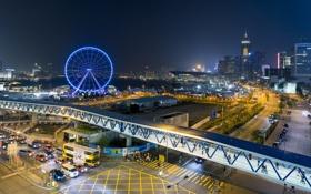 Обои ночь, огни, Гонконг, центр