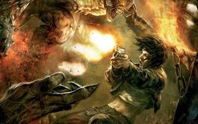 Картинка девушка, монстр, сражение, Hellgate London