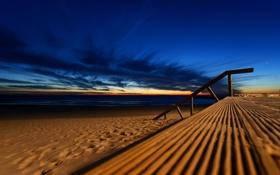 Картинка песок, море, небо, синий, природа