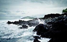 Картинка море, вода, скала, камни, океан, скалы, обои