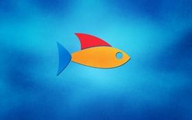 Картинка цвета, яркие, рыбка, минимализм, Рыба, logo, fish