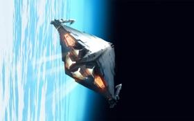 Обои космос, корабль, планета, арт, Elite, Dangerous, Krait cruising