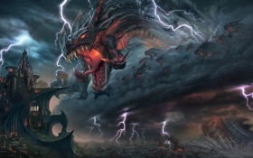 Обои город, замок, атака, молнии, дракон, арт, ярость