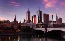 Обои мельбурн, закат, австралия