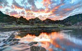Картинка пейзаж, закат, HDR, Malibu