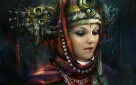 Обои девушка, украшения, лицо, арт, принцесса