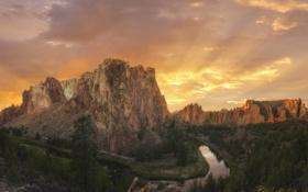 Картинка пейзаж, закат, горы, природа, река