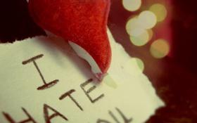 Обои макро, любовь, надпись, сердце, hate, записка, love