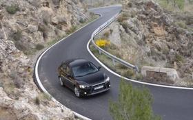 Картинка дорога, машина, горы, обои, япония, поворот, чёрная