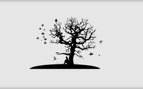 Обои Минимализм, Дерево, Листья, Грусть, Птицы, Черно-белое