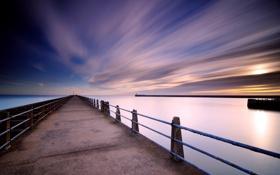 Картинка облака, Выдержка, небо, пирс, море