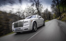 Картинка Дорога, Белый, Phantom, Решетка, Фары, Rolls Royce, Купэ