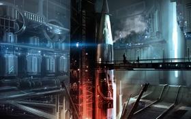 Обои мост, люди, ракета, арт, установка, сооружиение, бункер