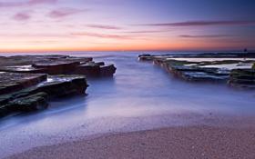 Обои море, небо, закат, камни