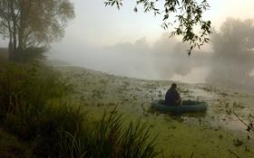 Картинка туман, река, рыбалка, утро
