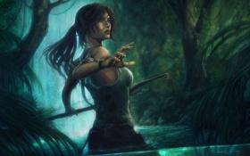 Обои лук, джунгли, река, девушка, вода, lara croft, водопад