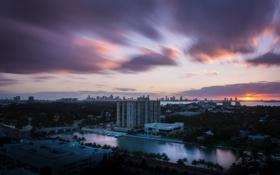 Картинка Закат, Дома, Майами, Панорама, Флорида, Здания, США