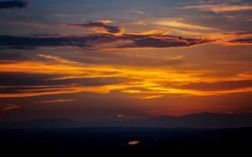 Картинка облака, закат, горы, озеро, силуэт, оранжевое небо