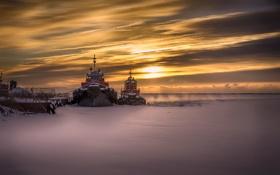 Обои закат, лёд, корабли
