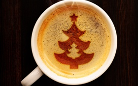 Обои пена, узор, елка, кофе, чашка, ёлка, ёлочка