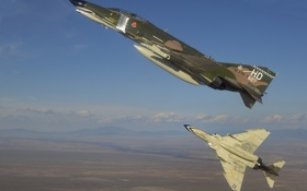 Картинка небо, истребители, пара, полёт, бомбардировщики, McDonnell Douglas, перехватчики
