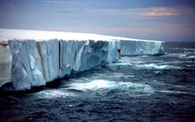 Картинка море, волны, небо, закат, природа, ледник, айсберг