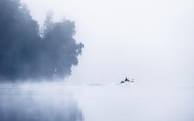 Картинка туман, озеро, лодка, утро