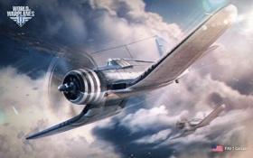 Обои Небо, Облака, Самолет, Истребитель, Земля, Авиация, Wargaming Net