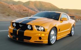 Обои горы, оранжевый, скорость, Mustang, Ford, мустанг, форд