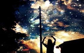 Картинка небо, девушка, облака, деревья, закат, дом, столбы