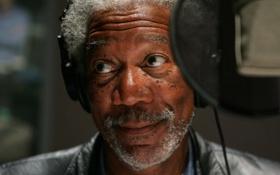 Обои улыбка, микрофон, Morgan Freeman