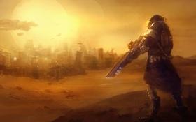 Картинка песок, солнце, город, оружие, транспорт, пустыня, человек
