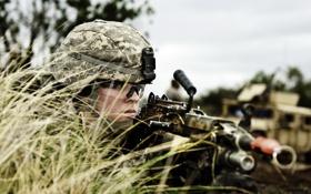 Картинка фон, солдат, оружие