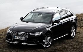 Обои Audi, чёрный, берег, Ауди, TDI, Allroad, quattro