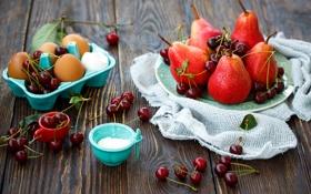 Обои ягоды, яйца, тарелка, фрукты, лоток, груши, вишни