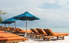 Обои природа, пляж, тропики, зонтики, море