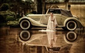 Обои авто, девушка, отражение
