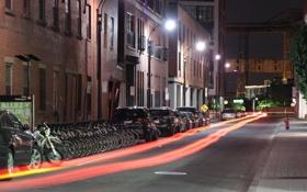 Картинка дорога, свет, линии, машины, ночь, город, огни