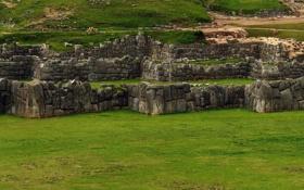 Картинка Трава, Камни, Руины, Памятник, Комплекс, Мегалиты, Саксайуаман