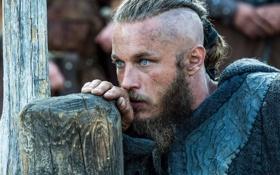 Картинка Ragnar Lothbrok, Викинги, историческая, Travis Fimmel, лицо, Vikings, драма