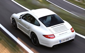 Обои дорога, белый, купе, скорость, 911, 997, суперкар