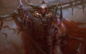 Обои рога, горящие глаза, Воин, меч, доспехи, воительница, шлем