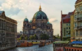 Обои город, река, здания, Германия, Берлин