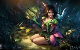 Обои лес, девушка, птица, арт, ушки, сидя, Passion Republic