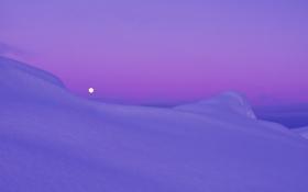 Обои арктика, Сиреневый, снег, сумерки, вечер, луна