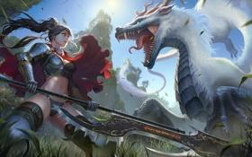 Картинка девушка, солнце, оружие, дракон, доспехи, аниме, воин