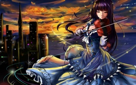 Картинка девушка, закат, город, улыбка, краски, скрипка, игра